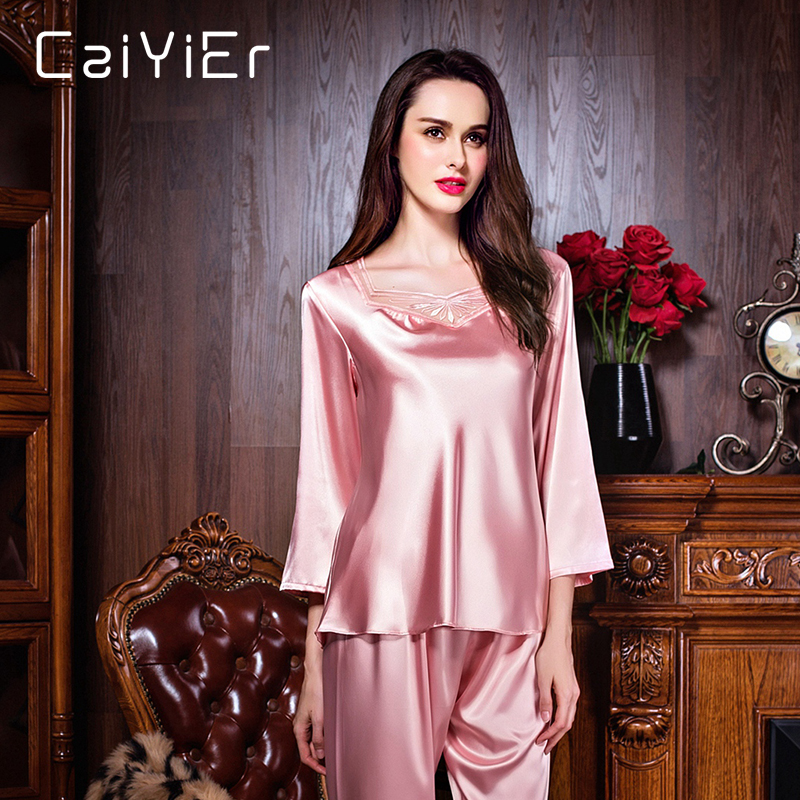 Caiyier 2018 Lace Silk Pajamas Sets Women Hollow Out Pink Floral Nightwear Spring Solid Sleepwear Lace Silk Pajamas Sets LSB7130