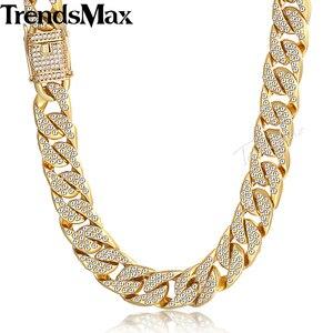 Image 1 - Männer Halskette Hip Hop Gold Miami Iced Out Curb Kubanischen Kette Halskette Für Frau Männlich Schmuck Dropshipping Großhandel 14mm KGN455