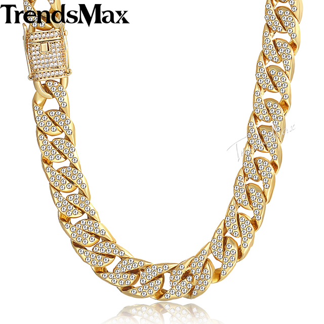 Mens Necklace Hip Hop Gold Miami Iced Out Curb Cuban Chain Necklace For Woman Male Jewelry Dropshipping Wholesale 14mm KGN455