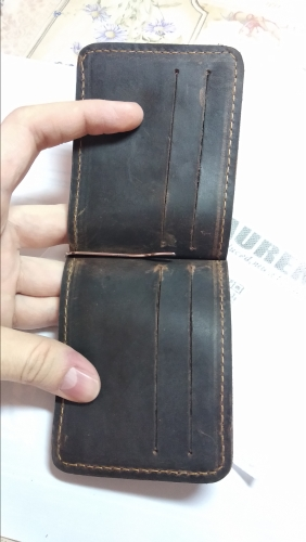 TAUREN 2019 New Men Crazy Horse Dollar Money Clips Card Place Men Black Brown Genuine Leather 2 Folded Open Clamp For Money photo review