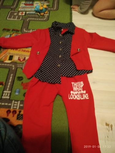 Baby Boy's Cute Polka Dot Patterned Clothing Set photo review