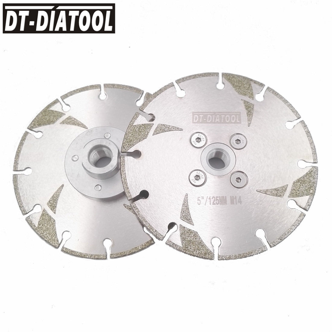 DT-DIATOOL 2pcs Dia125mm Dry Or Wet Coated High Quality Diamond Cutting Disc Saw Blade M14 Thread 5 Inch Grinding Wheel Marble