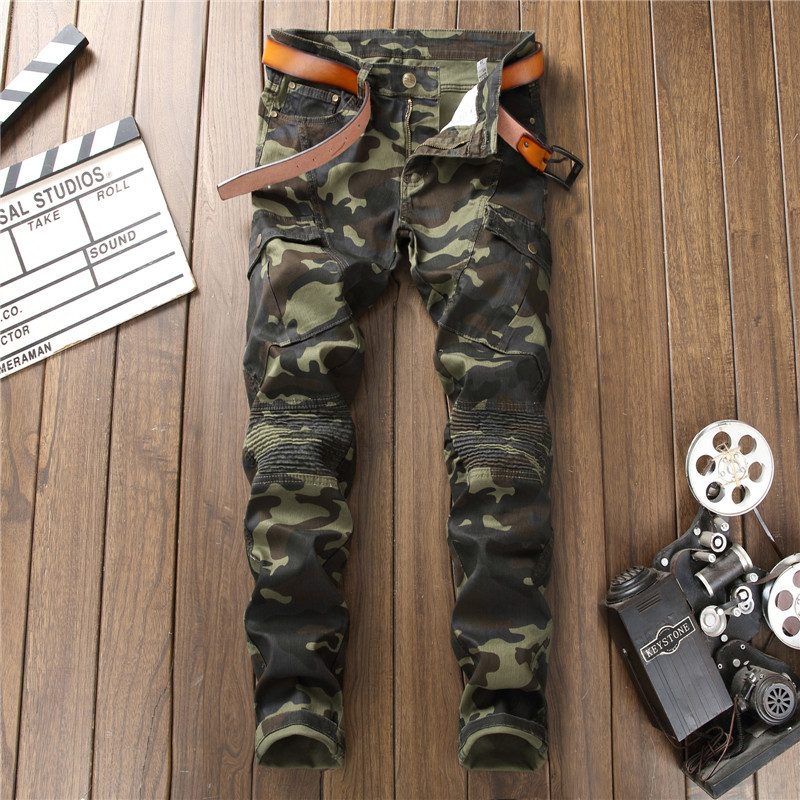 Hot Sale Pleated Designer Man Camouflage Jeans Fashion Slim Denim Long Trousers