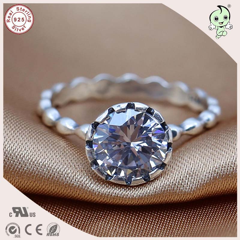 P&R products Top Quality Noble European Famous 925 Real Silver Stone Wedding Ring for women