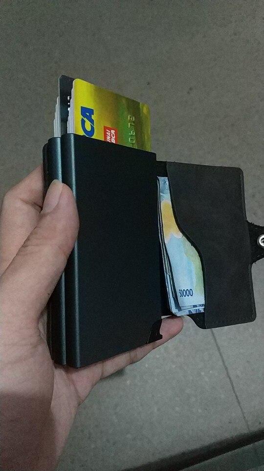 BISI GORO 2019 Mannen en Vrouwen 2 Metalen Creditcardhouder Aluminium RFID Blocking PU Wallet Hasp Mini Vintage Wallet Hold 14 Cards photo review