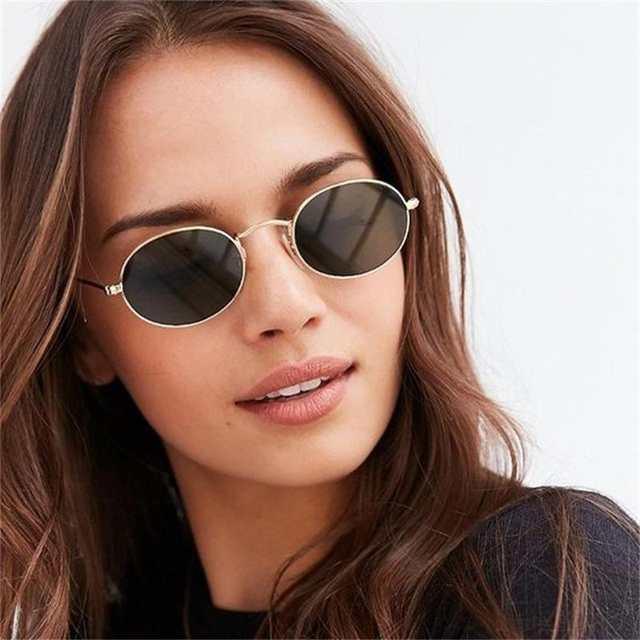 074f4769f46e8 Pequeno Oval Óculos De Sol Retro Mulheres Óculos Vintage Óculos de Armação  de Metal Espelho de