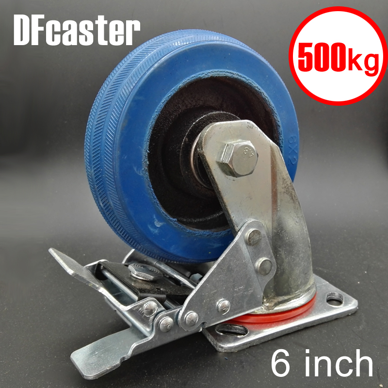 Rubbr 500kg Heavy Load 6 inch casters 360 Degree Caster With Brake carrying wheel Universal Castor Double bearing Trolley Wheels new 4 swivel wheels caster industrial castor universal wheel artificial rubber heavy casters brake 360 degree rolling castors