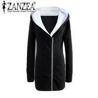 ZANZEA 2017 Autumn Winter Plus Size Women Coats Casual Long Hoodies Sweatshirt Coat Pockets Zip Up