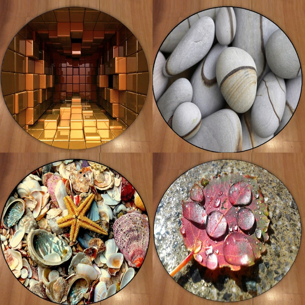 Else Gray Stones Sea Shells Leaf Cubes 3d Non Slip Microfiber Round Carpets Area Rug For Living Rooms Kitchen Bedroom Bathroom