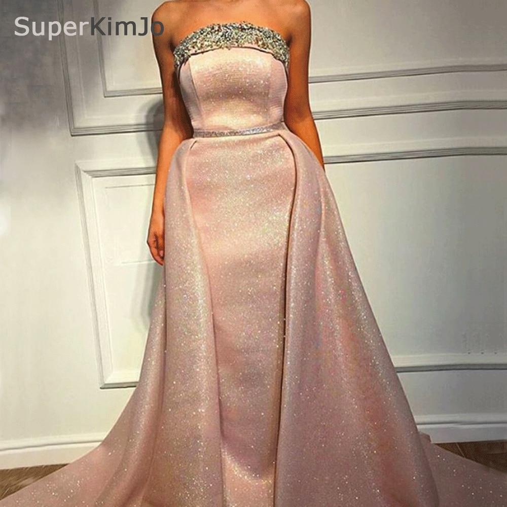 SuperKimJo Vestido De Festa Long 2018 Strapless Evening Dresses Long  Detachable Skirt Sparkly Luxury Evening Gowns a3d1b1b827b7