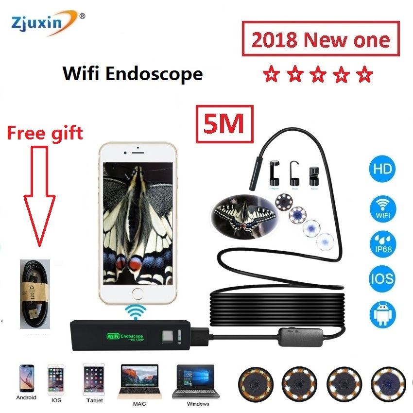 2018 WIFI Endoscope 5M New Camera 8mm HD Lens USB Iphone Android endoscope Tablet Wireless Endoscope wifi softwire 3 5m wifi endoscope new camera 8mm hd lens usb iphone android endoscope tablet wireless endoscope wifi softwire