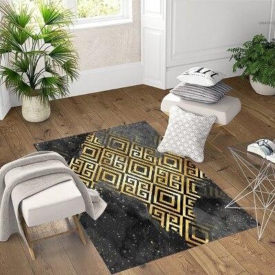Else  Black Yellow Ikat Locked Design Geometric 3d Print Non Slip Microfiber Living Room Decorative Modern Washable Area Rug Mat