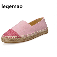 Hot Sale Fashion High Quality Breathable Pink Beige Gray Colors Women Flats Canvas Espadrilles Casual Loafers Shoes Size 34-42 недорого