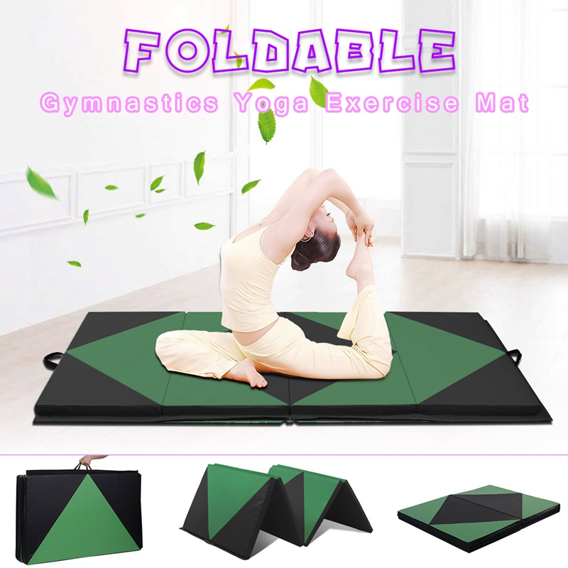 SGODDE New Black Green Sponge Folding Exercise Yoga Panel Fitness Pink Black Gymnastics Gym Mat 240x120x5cm Gym Sports Mat makeup tool kits thick folding panel gymnastics mat gym exercise lady yoga tri mat pad keep fit tools massage pad