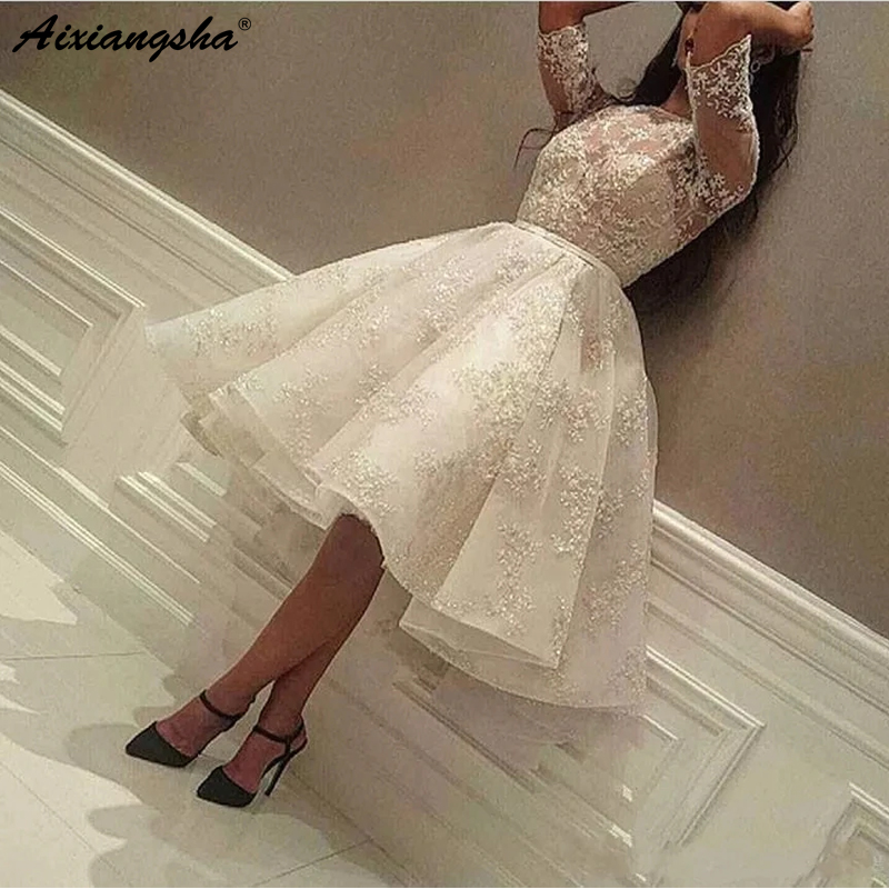 Puffy Evening   Dress   2019 O Neck Appliqued Ball Gown Half Sleeve Islamic Dubai Kaftan Saudi Arabic White   Prom     Dresses