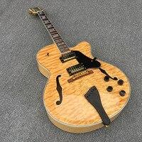 Jazz Semi Oco Guitarra Elétrica Do Corpo, Grosso Archtop Guitarra, branco Pérola de Ligação, hardware ouro, Transparente pickguard, Chama Bordo