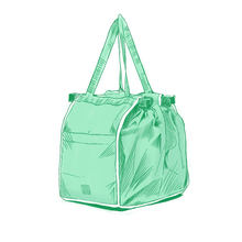 Reusable Large Trolley Clip-To-Cart Grocery Shopping Bags Portable Green Cloth Bag Foldable Tote Handbags(China)