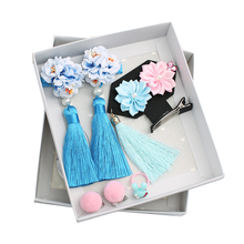 5~6pcs/pack-Chinese Retro Princess Style Childrens Hair Gift Box Set Of Rabbit Ball Clip Girls Accessories