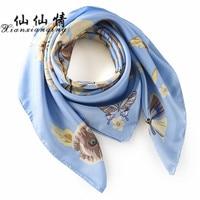 XIANXIANQING New Fashion Silk Scarf For Women Wrap Square Scarves Women Wraps Plaid Bandana Printed Shawl