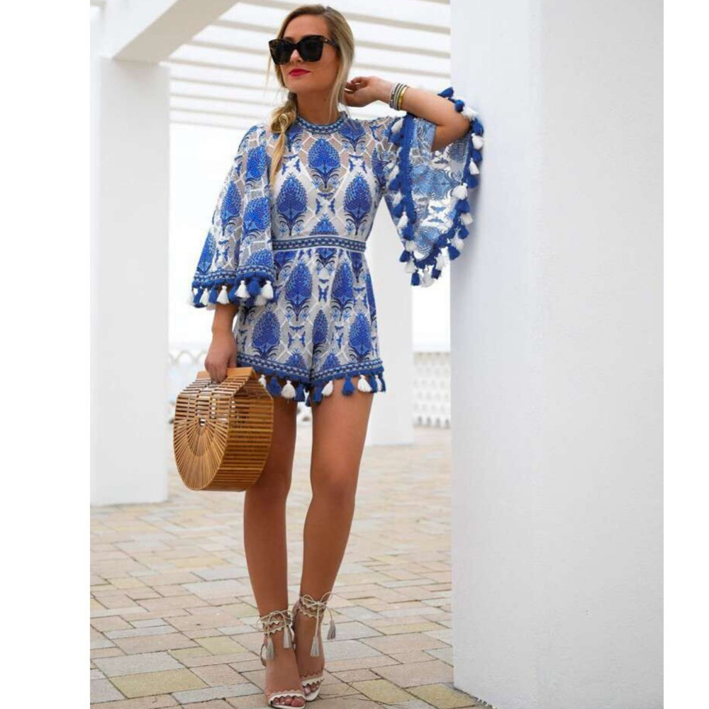 Body Jumpsuit Women 2019 Top Promotion O-neck Short And Skirt Set Free Shipingeurope The Spring Tassel Horn Sleeve Women's