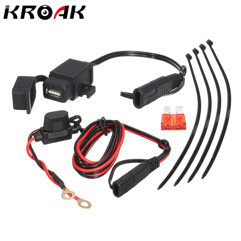 kroak-motorcycle-21a-waterproof-sae-to-usb-interface-charger-cable-adapter-inline-fuse-kit-with-extension-harness