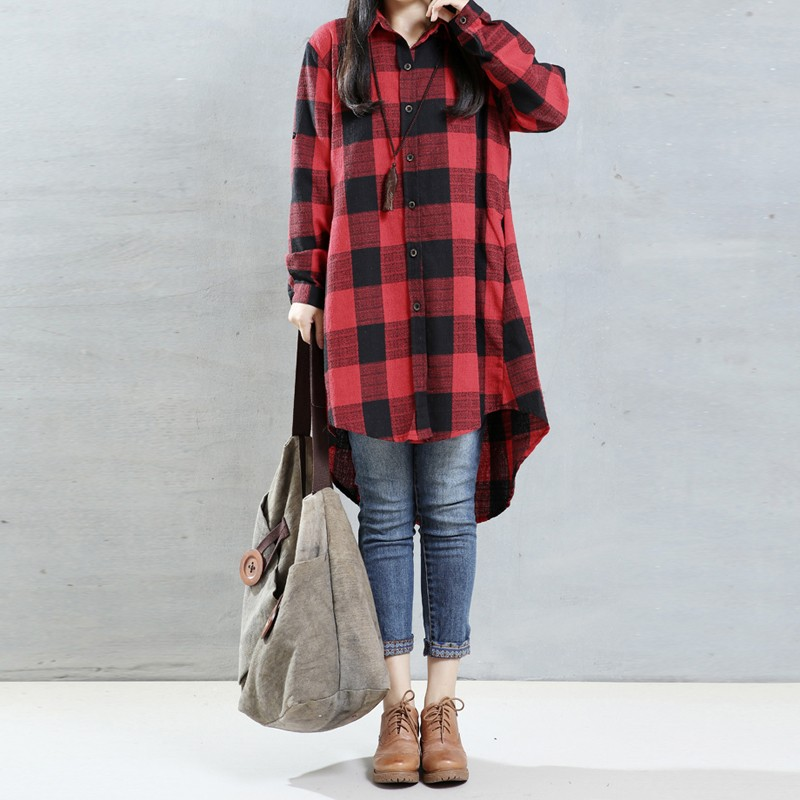 Retro Plaid Shirt Shirt 2018 Spring Long Sleeve Custom Color Asymmetrical Hem Top Blusas Maternity Wear UL10-UL50 plus knot front asymmetrical plaid skirt