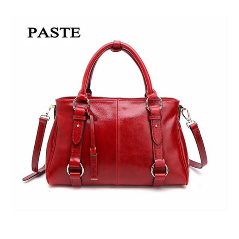 PASTE 2017 Female Handbags High Quality Genuine Leather Cow leather Women Shoulder Bag Soft Vintage Large Totes Red bolsas high quality pneumatic paste