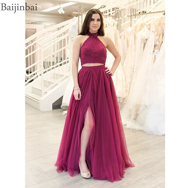 b7f4d1a085958 Baijinbai Two Pieces Prom Party Dresses with Beaded Jersey Top Vestidos de  fiesta A line Evening Gowns Formal Chiffon Slit