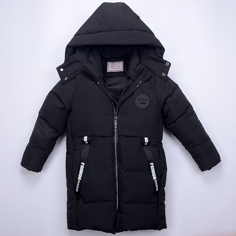 Kids Winter Jackets Boys Down Coat Outerwear Warm  Thick Kids Hooded Long Style Down Coat Down 6-9 Year Children Jacket