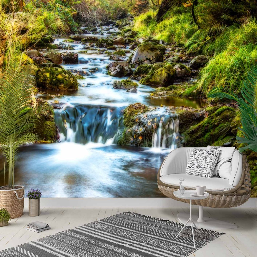 Else Green Grass Mountain Waterfall River 3d Photo Cleanable Fabric Mural Home Decor Living Room Bedroom Background Wallpaper