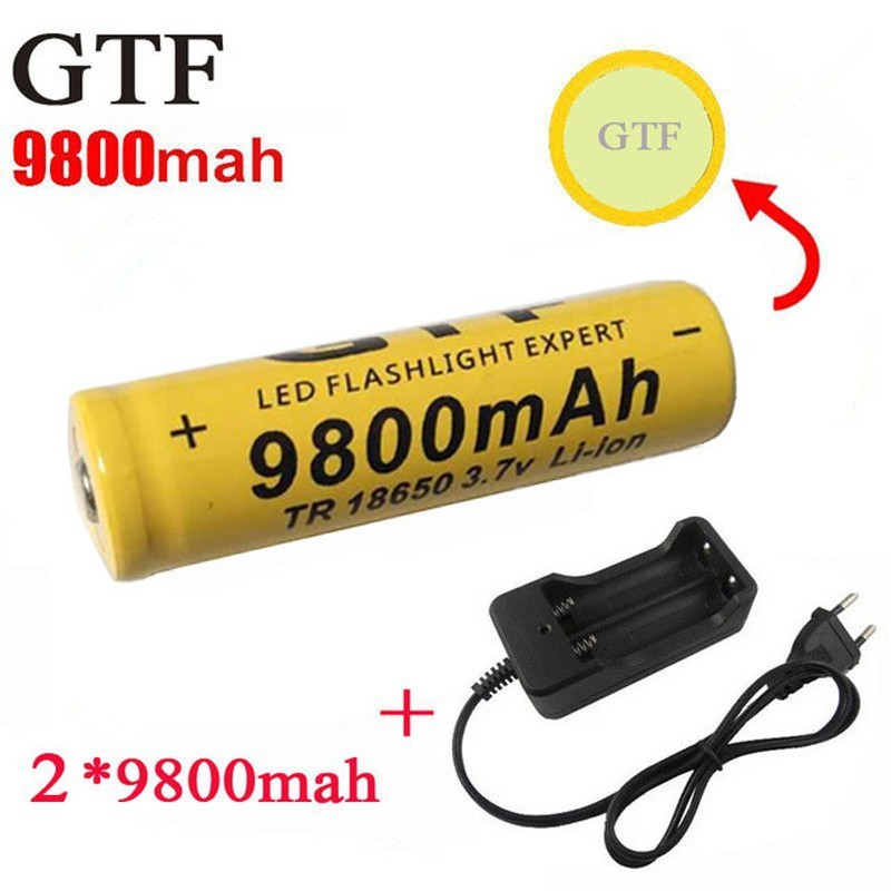 GTF 2pcs 18650 9800mAh 3.7V Li-ion Rechargeable Batteries For Flashlight + EU Li-ion Battery Charger