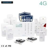 HOMSECUR Беспроводной и Проводной 4G/3G/GSM LCD Система Охранной Сигнализации с Сенсорной Панелью