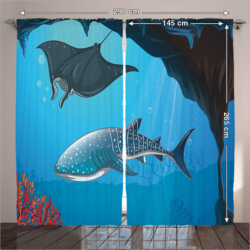 Curtains Navy Living Room Shark Underwater Stingray Coral Maritime Nautical  Ocean Sea Bottom Bedroom Blue Pink 290x265 Cm Home In Curtains From Home ...