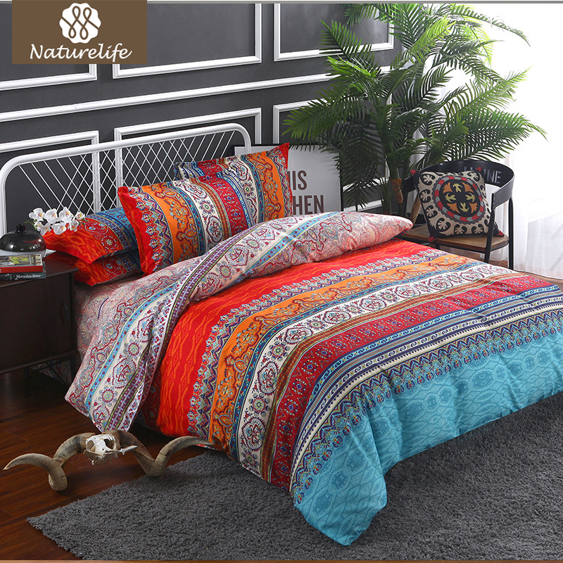 Naturelife Luxury Plaid Bedding Set Soft Traditional Sanding