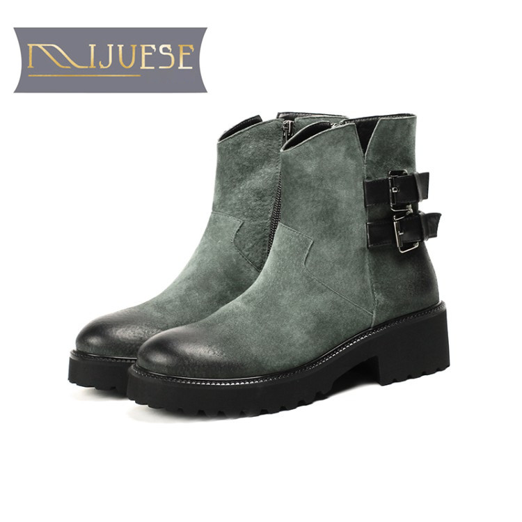 MLJUESE 2019 women ankle boots Pigskin green color winter warm fur short plush low heel boots women martin boots size 33-43 marulong s0002 women s fashionable flower pattern short sleeved nightdress green multi color