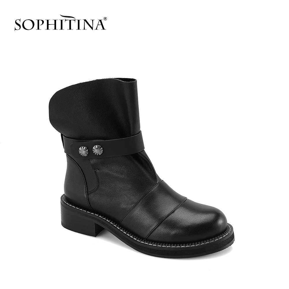 SOPHITINA Hakiki Deri Çizmeler 2019 Sonbahar El Yapımı Slip-on Yuvarlak Ayak Kare Topuk Toka yarım çizmeler Rahat Kadın Ayakkabı M9