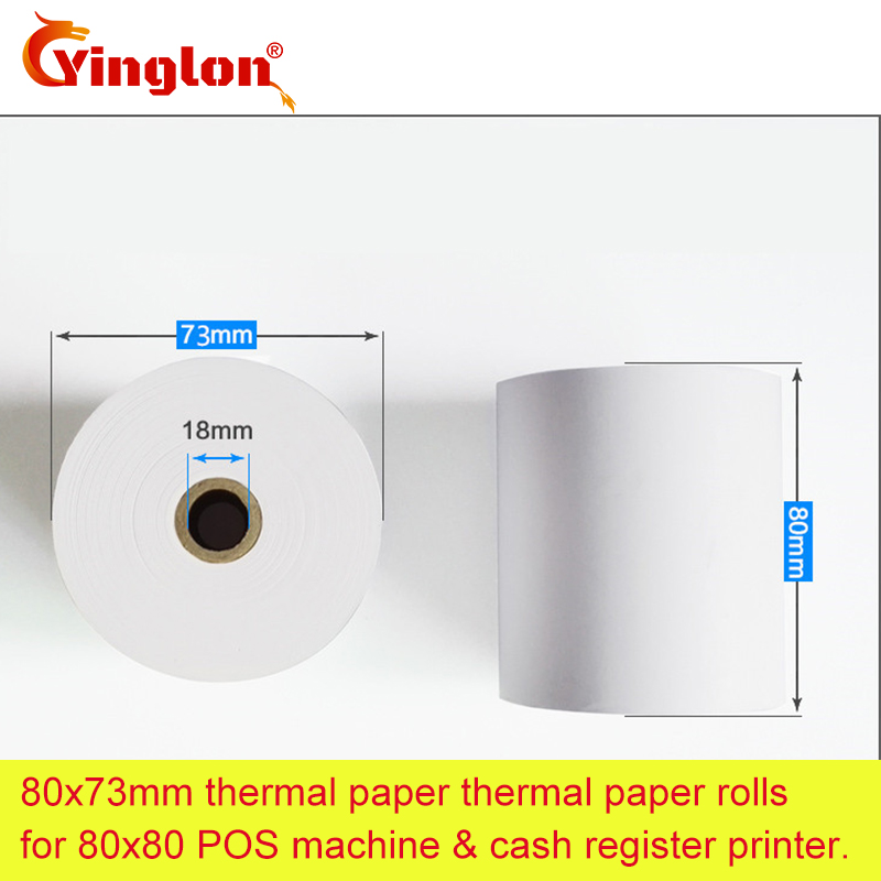 2 rolls/lot 80*80 EFTPOS machine actual diameter 73mm 80x73mm single layer thermal paper roll for cash register paper pure wood