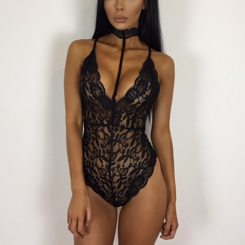 2018 Fashion Women Sexy Halter Playsuits Regular Solid Lace Camisole Ladies Bodysuits Slim Overalls Backless Transpare Jumpsuits