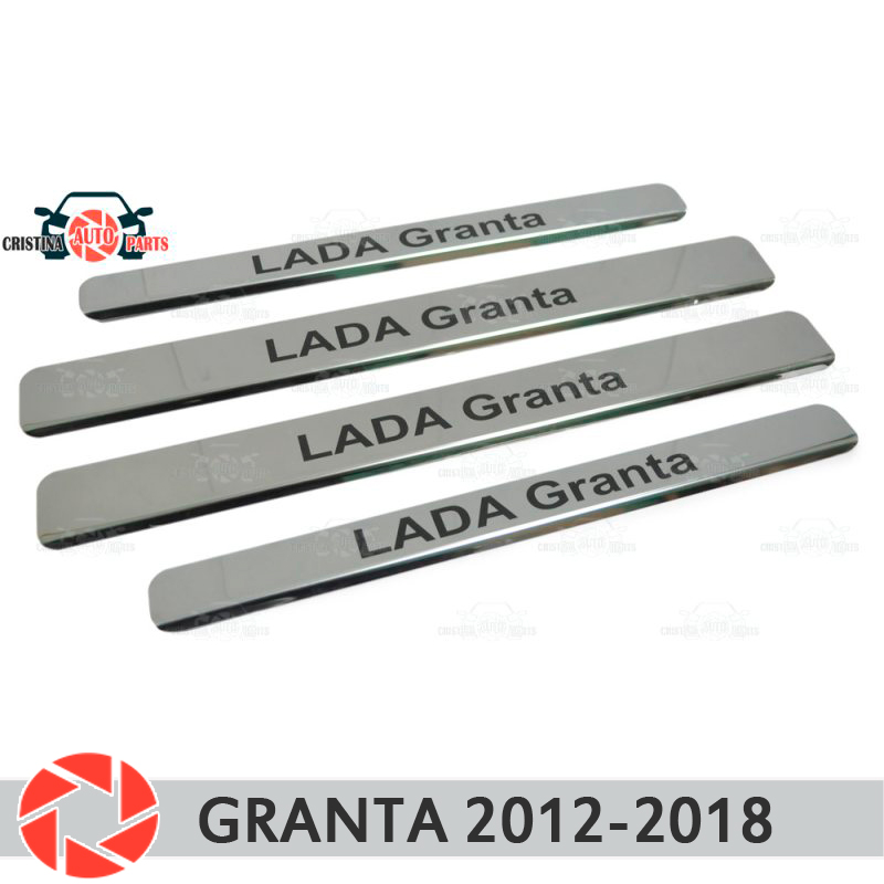 For Lada Granta 2012-2018 door sills step plate panel protectection car styling decoration interior molding door panel skylarpu new 7 inch 165mm 100mm touchscreen for car navigation dvd hsd070idw1 d00 e11 touch screen digitizer panel universal
