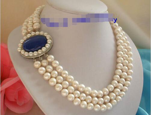 все цены на stunning 3rows 10mm round white freshwater pearls necklace>>>girls choker necklace pendant Free shipping