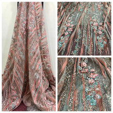 3D Lace Fabric 2018 High Quality Lace, Powder Pink African Lace Fabric, Handmade Lace With Pearls F739-2