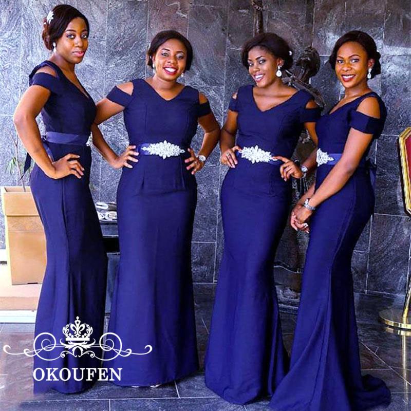 Royal Blue Satin Long   Bridesmaid     Dresses   With Short Sleeves Beading Sash African Women Mermaid Maid Of Honor   Dress   Party Gowns