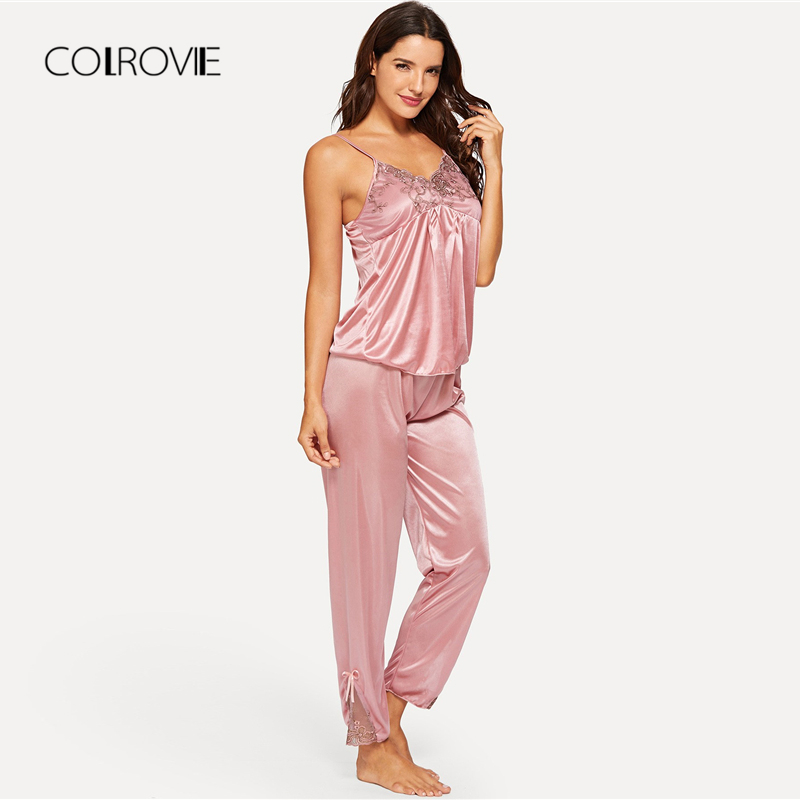 COLROVIE Pink Elegant Belted Robe Cami Lace Pajama Sets Women Nightgown 2018  Autumn Female Nightwear Lingerie Women Sleepwear -in Pajama Sets from  Underwear ... 0fc290e4b5bc