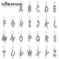 DORAPANG 100% bir alfabe Charm Boncuk 925 Gümüş 26 harf colocation Bilezik DIY bilezik Toptan fabrika