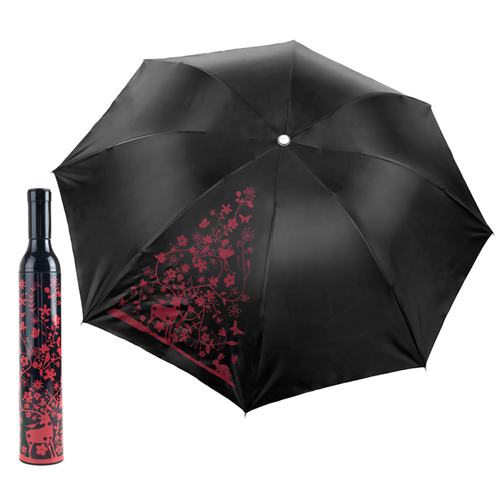 Decorative Floral Red and Black Flowers Wine Bottle Umbrella for Sun or Showers Gift oc 08 diy 3d red wine bottle patterns decorative diy nail art sticker black red