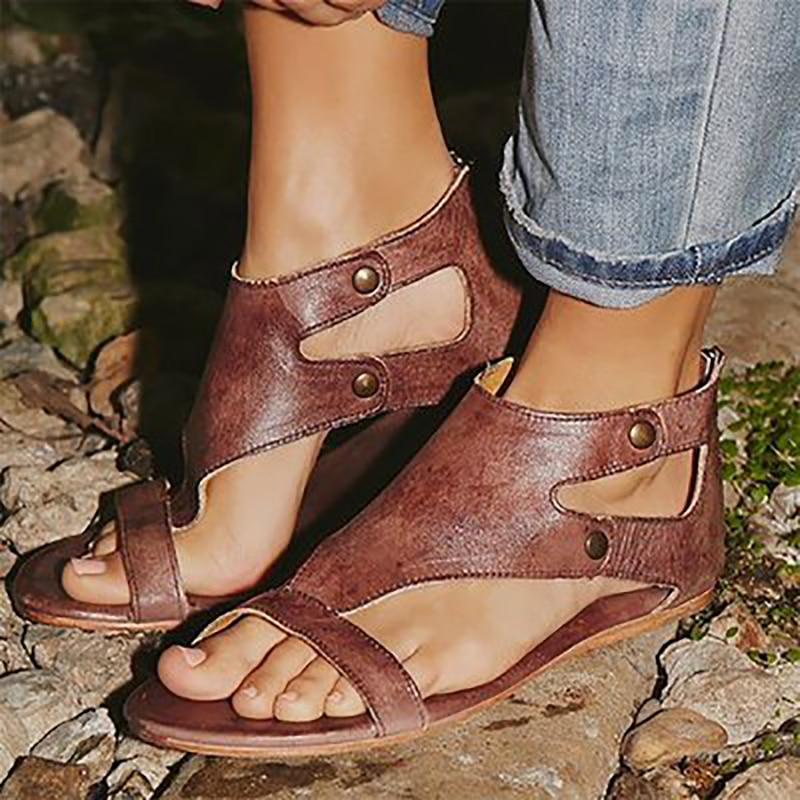 13a615d90c9d Soft Leather Women Gladiator Sandals Casual Summer Shoes Female Flat  Sandals Women Beach Shoes Plus Size 35-43 35