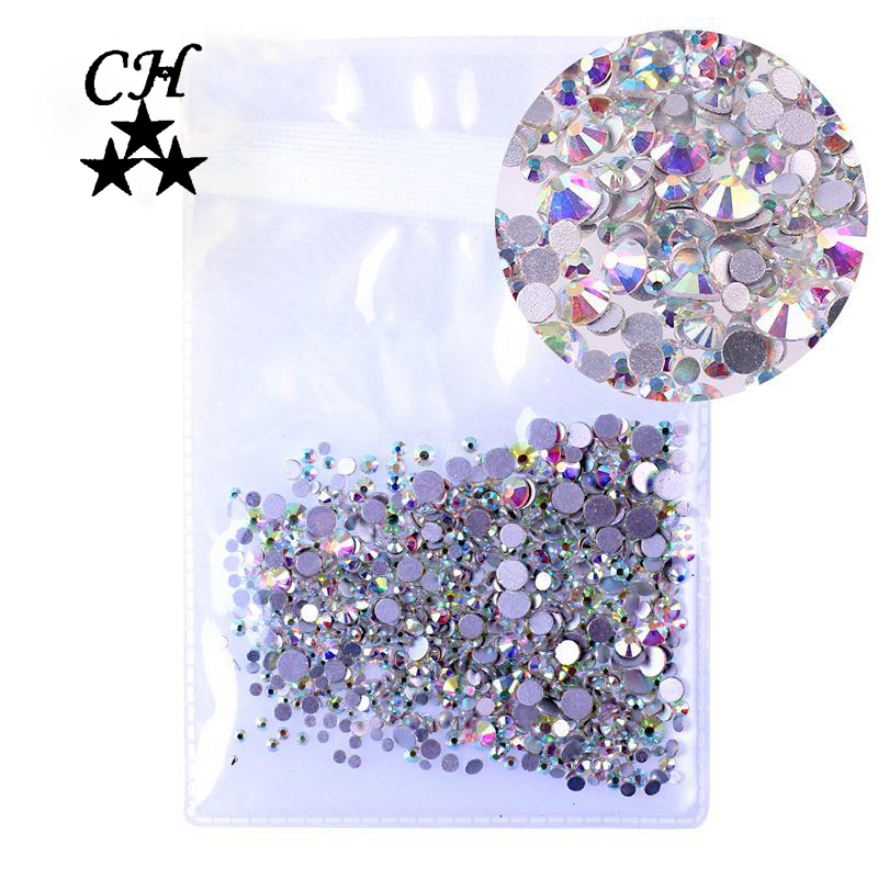 Mix Sizes 1000PCS/Pack Crystal Clear AB Non Hotfix Flatback Rhinestones Nail Rhinestones For Nails 3D Nail Art Decoration Gems 1728pcs clear crystal ab ss3 to ss10 mini sizes nail art non hotfix crystal glass rhinestones nail decoration