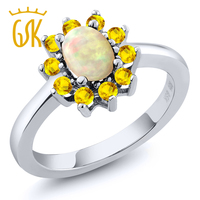 GemStoneKing 1.01 Ct Oval Cabochon Beyaz Etiyopya Opal ve Sarı Safir 925 Gümüş kadın Yüzük