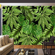 Southeast Asian Style Green Palm Leaf Art Mural Wall Production Wallpaper Mural Custom Photo Wall custom mural wallpaper southeast asian tropical green banana leaf wallpaper bedroom living room background wall decor wallpaper