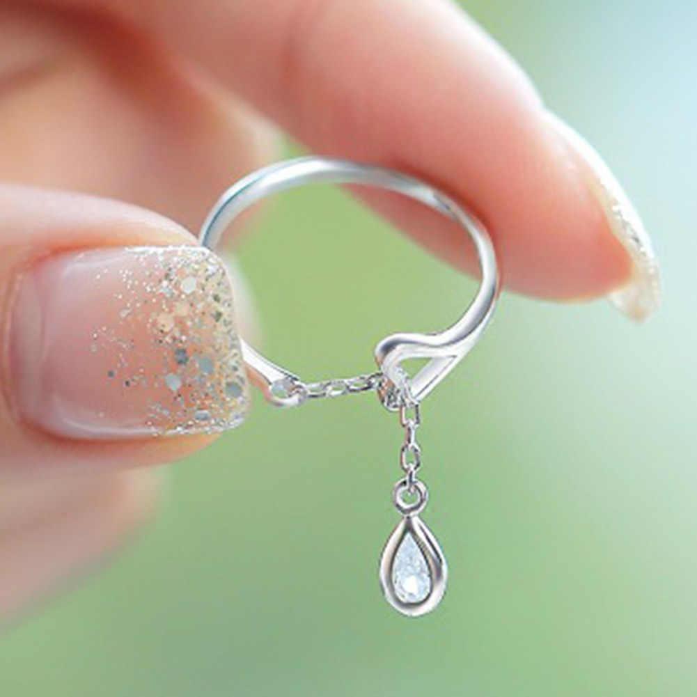 Ayarlanabilir Sevimli Kalp şeklinde Kristal Yüzük Kadın Yeni Moda Gümüş Renk Su Damlacıkları Yüzük Kadınlar Kız Takı Için